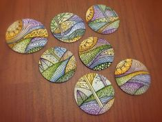 zentangle watercolor | Tiny one inch zentangle/doodle watercolor landscapes