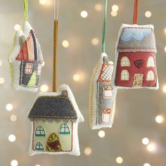 Fabric House Ornaments from C&B