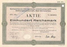 Schwartauer Honigwerke u. Zuckerraffinerie AG / InhabeAKTIE 100 RM, Bad Schwartau März 1927, umgestempelt in Schwartauer Werke AG