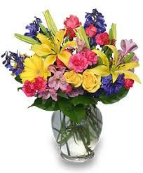 """""""Just Because"""" Add fresh flowers to your home! This colorful Rainbow of Blooms arrangement is sure to bring a smile and brighten their day. Call ALL SEASONS FLORAL & GIFTS direct or order flowers online today! Easter Flowers, Mothers Day Flowers, All Flowers, Summer Flowers, Flowers Direct, Happy Flowers, Fresh Flowers, Silk Flower Arrangements, Flower Vases"""
