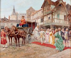 """Sold Price: Mariano Alonso Pérez (Zaragoza, 1857 - Madrid, 1930) - """"The arrival of the bride"""" - May 2, 0119 6:00 PM CEST The Arrival, Old Trains, Rococo Style, Madrid, Alonso, Romantic, Bride, Yandex, Journey"""