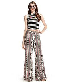 Bar III Pants, Wide-Leg Geometric-Print Palazzo - Pants & Capris - Women - Macy's