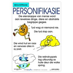 Full colour wall chart / poster describing personification. This poster gives an explanation and examples of personification such as: Tyd wag vir niemand nie. Die typ stap aan. Die wind huil en raas en verwoes alles in sy pad. Die reendruppels lag uitbundig as hulle deur die wolke spring. Afrikaans Language, Example Of Simile, Afrikaanse Quotes, Middle School English, Mentor Texts, English Language Arts, Figurative Language, Common Core Standards, Clouds