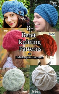 Knitting patterns for beret style hats, most patterns are free