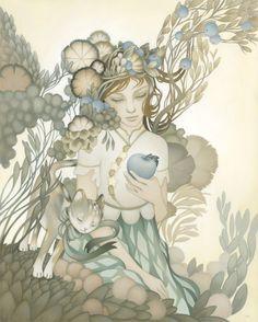 Illustration by Amy Sol Amy Sol, Art Nouveau, Oil Paint On Wood, Pop Surrealism, Light Art, Cat Art, Illustrations Posters, Fantasy Art, Fine Art