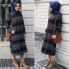 Islamic Fashion, Muslim Fashion, Woman Fashion, Love Fashion, Denim Ootd, Hijab Fashionista, Hijab Styles, Dress With Cardigan, Vestidos