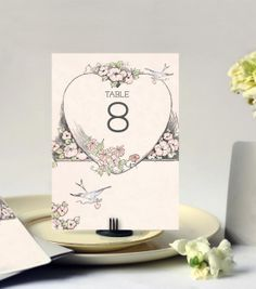 Wedding Table Cards Vintage Bluebird Theme Set of 16 by GoGoSnap, $24.00