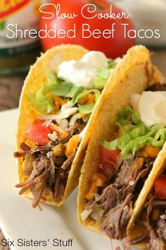 Slow Cooker Shredded Beef Tacos 2 - 2 1/2 lbs beef chuck roast 1 1-oz packet of taco seasoning 1 cup salsa verde 1 can corn (do not drain) 1/2 cup beef broth taco shells & fixings Place roast in the slow cooker, cover with taco seasoning. Pour 1 cup salsa verde over top. Add 1 can corn (with the juice) & 1/2 cup beef broth. Cook on high 3-4 hours, or low for 6-8. When it is finished cooking, shred, put back in slow cooker when finished. Mix shredded beef with corn and liquid.