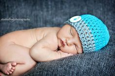 Baby boy hat. Adorable crochet beanie, that is custom made especially for you! You pick the colors and the size. This beanie can be made with or without the button. Available hat sizes: Newborn- birth-2 weeks 0-3 months fits 14-15 inches 3-6 months fits 15-16 inches 6-12 months