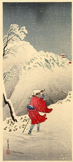 A Mountain Path Twilight Snowfall (1927-1935)  | Takahashi Shotei (1871-1945) | Woodblock
