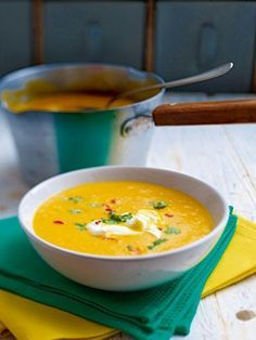 Möhren-Orangen-Suppe mit Ingwer Rezept: Möhren,Ingwer,Zwiebeln,Chilischoten,Orangensaft,Gemüsebrühe,Koriander,fraîche,Salz,Pfeffer