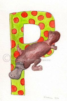 P is for Platypus Art Print by Veroniquelatimer