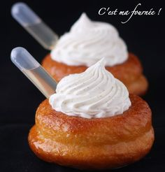Baba au rhum, with vanilla cream Cupcakes, Cupcake Cakes, Les Babas, Vegan Pastries, Dessert Packaging, Chefs, French Patisserie, Chocolate Biscuits, French Desserts