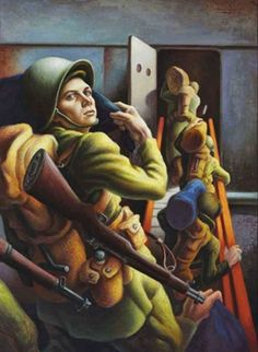 WWII shipping out, 1942  // by Thomas Hart Benton