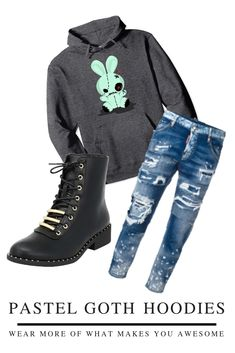 Fall Pastel Goth Fashion - Voodoo Bunny, dead bunny, kawaii but dark warm fall and winter hoodie.