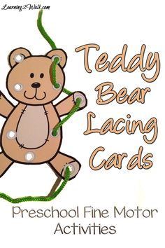 Preschool fine motor activities are an important component of early childhood. Use these free teddy bear lacing cards as a fun activity. Teddy Bear Preschool Fine Motor Activities- work on those fine motor skills by working on lacing. Bear Activities Preschool, Fine Motor Activities For Kids, Preschool Activities, Corduroy Activities, Bear Theme Preschool, Preschool Printables, Educational Activities, Free Printables, Teddy Bear Day