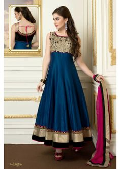 Look distinctively charming in this blue #Anarkali #salwar from #Samyakk. The zari and resham embroidery on this salwar makes it a perfect pick to complement your femininity.
