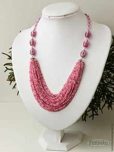 "Колье ""На розовой волне"". Handmade."