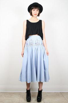 Vintage 80s High Waisted Skirt Chambray Light by ShopTwitchVintage #vintage #etsy #80s #1980s #chambray #denim #midi #skirt #studded #southwestern
