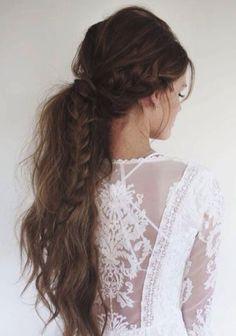 Messy ponytail with braid wedding hair inspiration #wedding #hair #hairstyle
