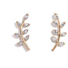 Tai Crystal Leaf Stud Earrings ($60) ❤ liked on Polyvore featuring jewelry, earrings, leaves jewelry, stud earrings, crystal stone jewelry, earring jewelry and crystal earrings