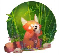 Have a red panda eating a manju Red panda Bristol Zoo, Panda Illustration, Panda Drawing, Panda Art, Red Pandas, Creature Drawings, Panda Love, Chibi Characters, Animal Sketches