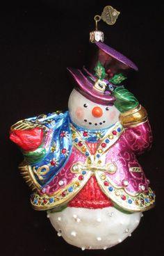 Jay Strongwater Snowman w Cardinal Ornament Swarovski Elements New in Box