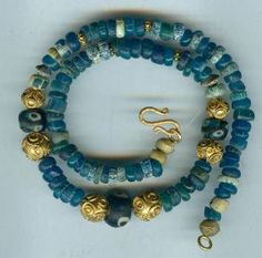 "S A L E  - Ancient Roman eye glass beads , Senegal ""gold"" and Djenné Nila beads necklace"