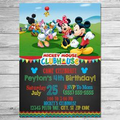 Mickey Mouse Clubhouse Thank You Card Chalkboard // Mickey Mouse Clubhouse Birthday Party // Mickey Mouse Clubhouse Thanks Printable Favors Mickey Mouse Clubhouse Invitations, Mickey Mouse Clubhouse Birthday Party, Mickey Birthday, Mickey Party, Birthday Party Themes, 2nd Birthday, Birthday Ideas, Fiesta Mickey Mouse, Mickey Mouse Bday