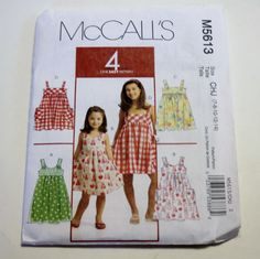 Dress Pattern McCall's M5613: Children's and Girls' Dresses Sizes 7,8,10,12,14 UNCUT - Girls Clothes Pattern, Sewing Pattern by threadsandthings1 on Etsy