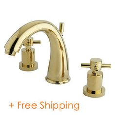 Buy the Kingston Brass Polished Brass Direct. Shop for the Kingston Brass Polished Brass Concord GPM Widespread Bathroom Faucet with Pop-Up Drain Assembly and save. Brass Faucet, Widespread Bathroom Faucet, Lavatory Faucet, Bathroom Sink Faucets, Bathrooms, Water Faucet, Thing 1, Kingston Brass, Elements Of Design