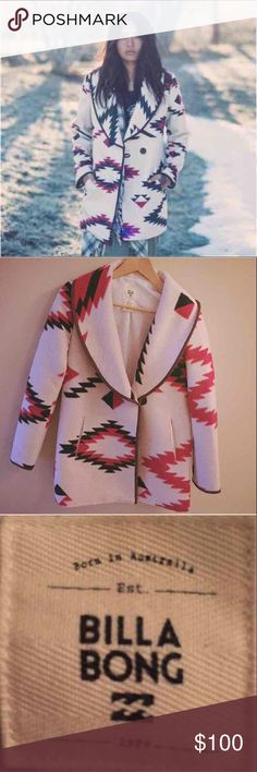 Billabong wander with me jacket SOLD OUT EVERYWHERE! Super cute!! Never worn!! New without tags 90% Polyester 10%Wool --- Southwest print. Oversized fit. Button front closure with Faux leather trim  SIZE: Small SOLDOUT ON SITE Billabong Jackets & Coats