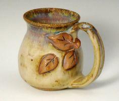 mug with aspen leaves