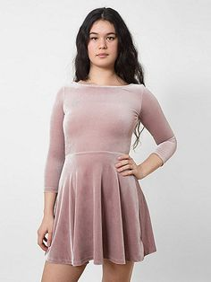 Stretch Velvet Skater Dress- super cute...circa ' 90's  velvet dress...gives a great waist line with this look!
