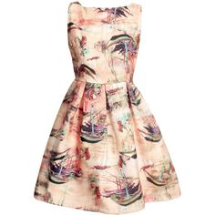 Little Boat Print Organza Skater Dress featuring polyvore, women's fashion, clothing, dresses, white, monarch butterfly dress, boatneck dress, sleeveless skater dress, white boat neck dress and pattern dress