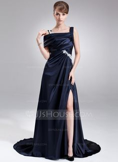 A-Line/Princess Off-the-Shoulder Sweep Train Ruffle Appliques Lace Split Front Zipper Up at Side Regular Straps Sleeveless No Dark Navy Winter Spring Summer Fall General Plus Charmeuse Prom Dress