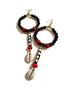 Batik Bone Tribal Hoop Earrings with Cowrie by KheperaAdornments