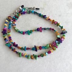 Mother Of Pearl Multi Colored Chip Beaded Eyeglass Chain-Sunglass Chain-Chain for Glasses-Eyeglass Holder-Necklace