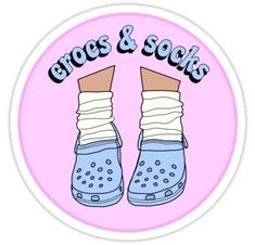 Crocs and Socks Sticker - Products - Spielzeug Tumblr Stickers, Phone Stickers, Cute Stickers, Preppy Stickers, Cool Laptop Stickers, Macbook Stickers, Printable Stickers, Grunge Suave, Papel Sticker