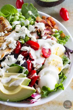 Looking to up your protein game? This Protein Packed Cobb Salad Recipe is not only delicious and filling, but filled with protein.:
