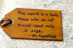 The World is a Book - Hand Carved Leather Luggage Tag