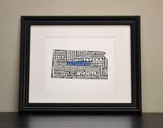 KANSAS JAYHAWKS Collage State Print Customize or by bandaprints, $12.50