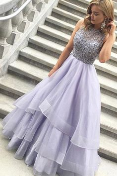A-line Jewel Floor Length Tiered Lavender Prom Dress with Beading