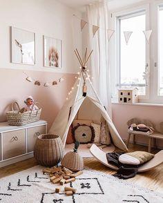 minimalist girl bedroom decor with boho artwork and boho rug girl teepee in playroom decor neutral playroom design modern boho playroom design modern boho girl bedroom minimalist kid room decor