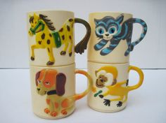 Vintage plastic children's cup set by southcentric on Etsy