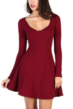 Long Sleeve Fit And Flare Dress - Burgundy
