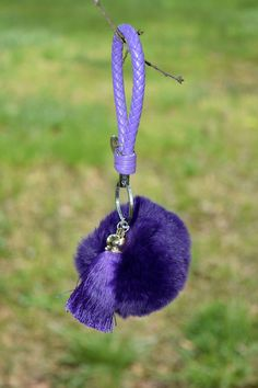 pom pom fur ball keychains leather rope cute women accessories, purple color by ZEnella on Etsy https://www.etsy.com/listing/275696712/pom-pom-fur-ball-keychains-leather-rope