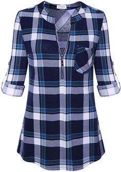 5b34b6108 Bulotus Women s 1 2 Zipper V-Neck 3 4 Sleeve Fall Tunic Shirt