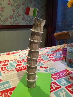 Leaning tower of Pisa - made out of kitchen roll and cardboard discs.