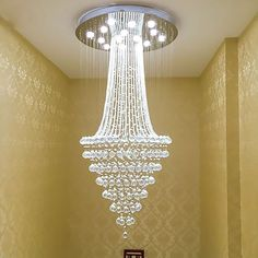 Getop Inch X Inch Modern Crystal Chandelier Rain Drop Rhombus Design Ceiling Light Fixture -- Awesome products selected by Earthglobe Energy Copany Chandelier Art, Crystal Chandelier Lighting, Luxury Chandelier, Antique Chandelier, Chandelier Staircase, Ceiling Light Fixtures, Ceiling Lights, Salon Lighting, Modern Lighting Design